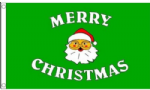 Merry Christmas Green Large Christmas Flag - 5' x 3'.